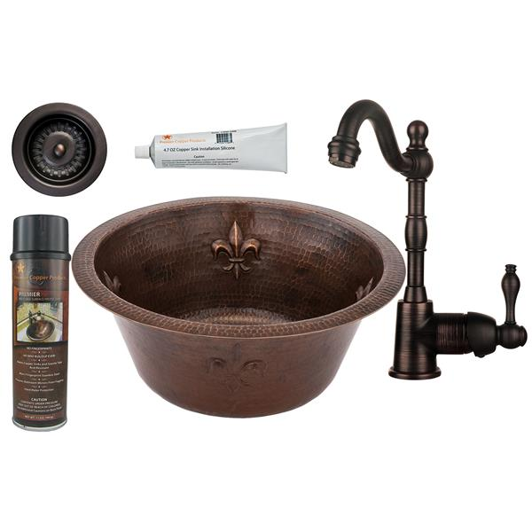 Premier Copper Products Copper Fleur De Lis Sink with Faucet and Drain - 16-in