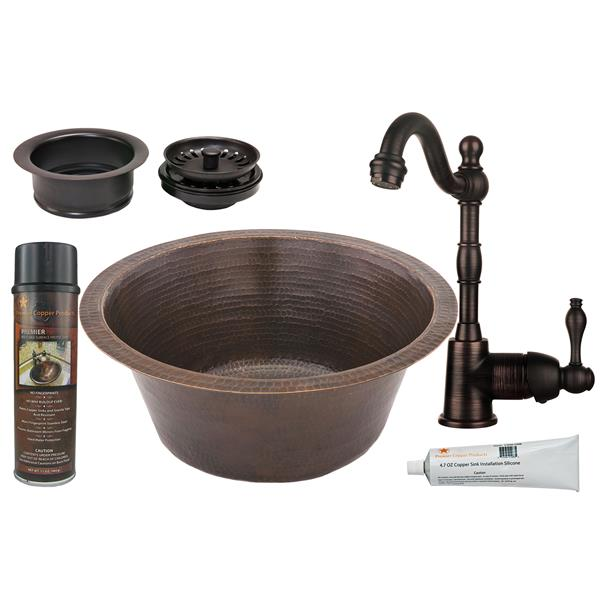 Premier Copper Products Round Copper Sink with Faucet and Drain - 16-in