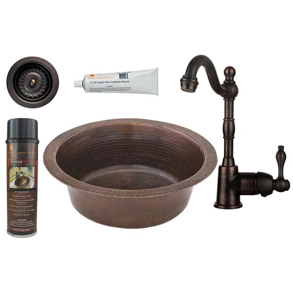 Premier Copper Products Round Copper Sink with Faucet and Drain - 14-in