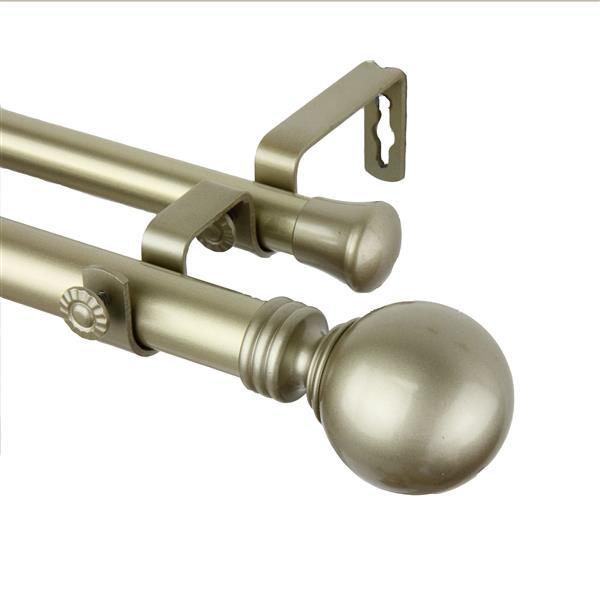 Rod Desyne Globe Double Curtain Rod - 28-48-in - 1-in - Gold