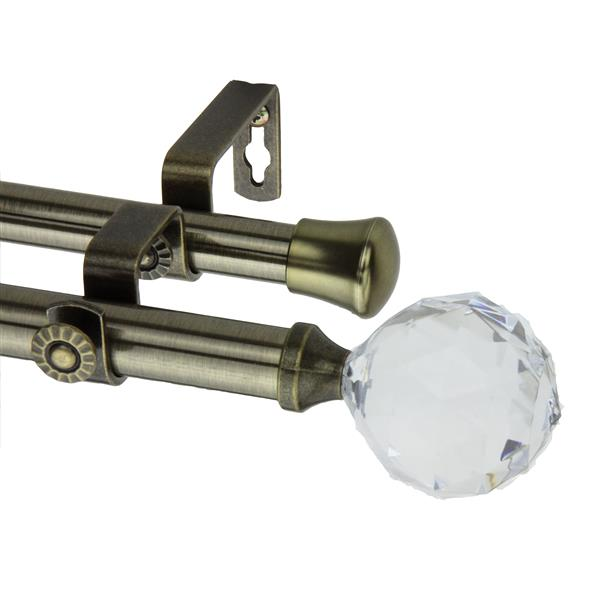 Rod Desyne Faceted Double Curtain Rod - 66-120-in - 13/16-in - Brass