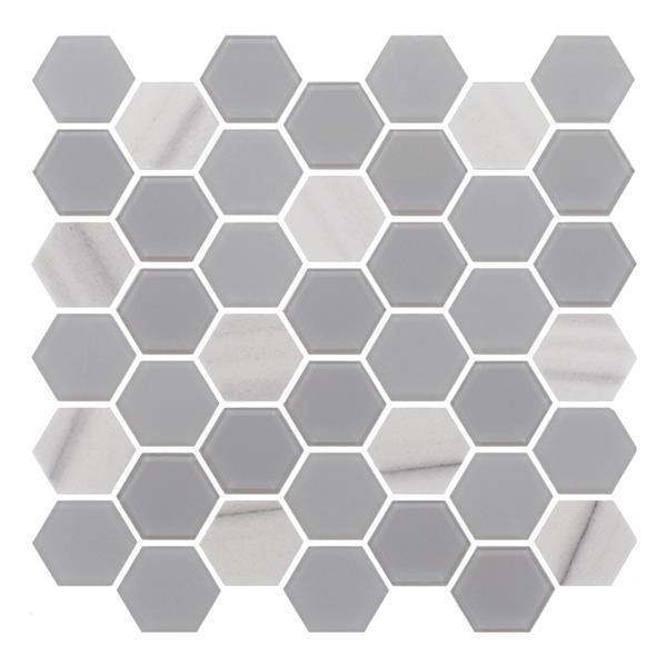 "Ceratec Lifestyle Exagon Wall Tiles - 12"" x 12"" - Glass - Gray - 15 pcs"