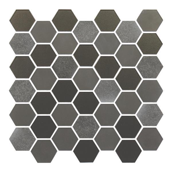 "Ceratec Lifestyle Exagon Wall Tile - 12"" - Glass - Gray"