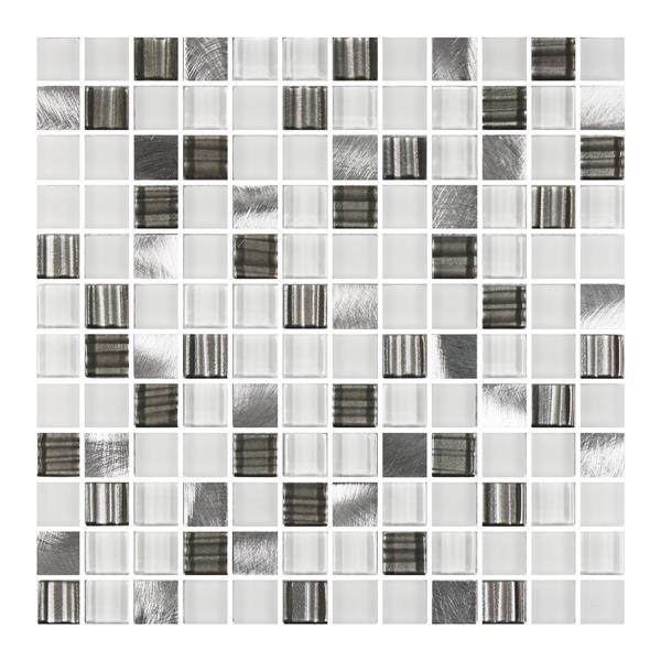 "Ceratec Lifestyle Metropole Wall Tiles - 12"" - Glass - White - 10 pcs"