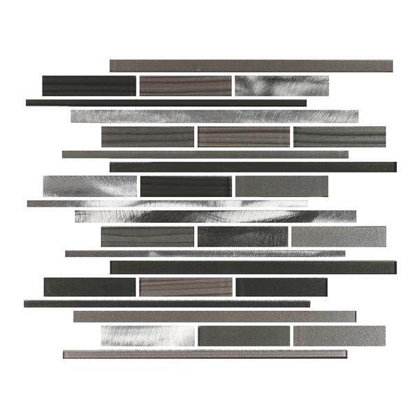"Ceratec Lifestyle Metropole Wall Tiles - 12"" x 12"" - Glass - Charcoal - 10 pcs"