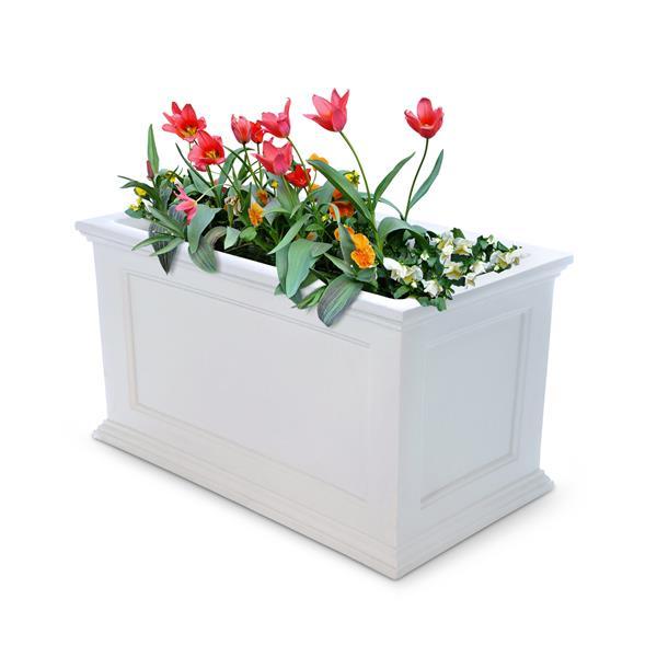 Mayne Fairfield Patio Planter - 20-in x 36-in- Plastic - White
