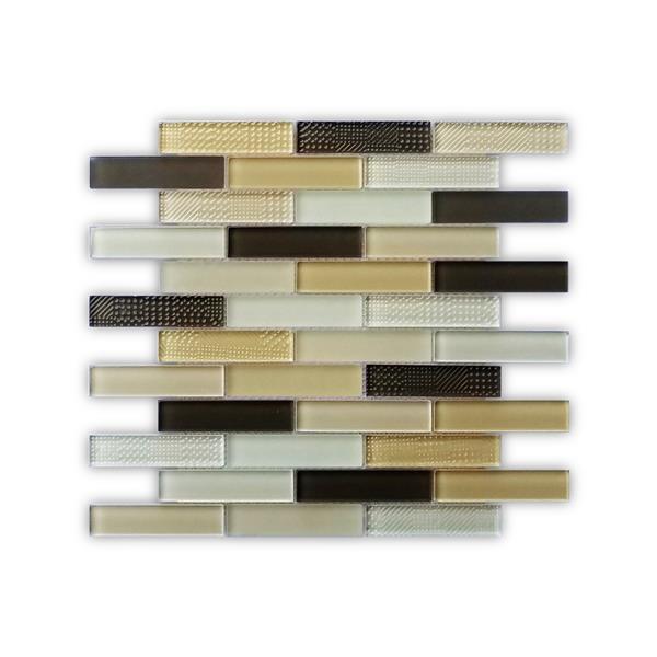 JL Tile Mosaic Oakville - 12-in x 12-in  - Glass - Beige/Brown - 10-pack