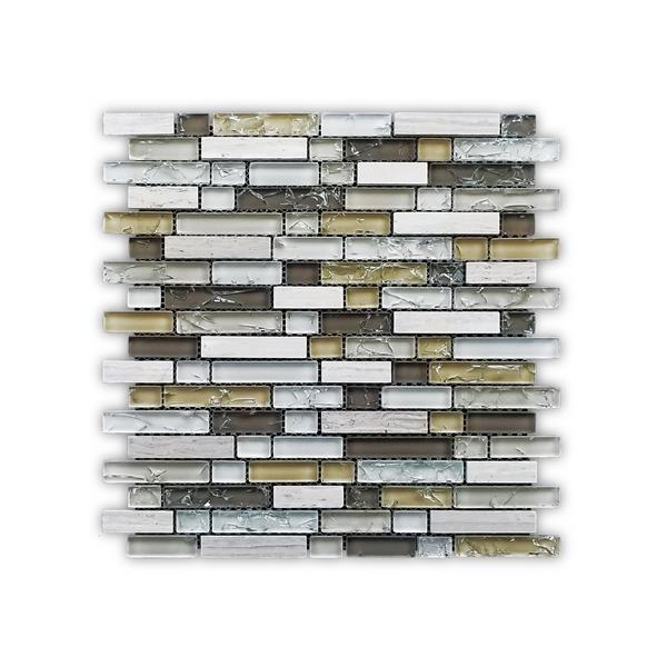 JL Tile Bristol Backsplash Tile - 12-in x 12-in - Glass/Beige - 10-pack