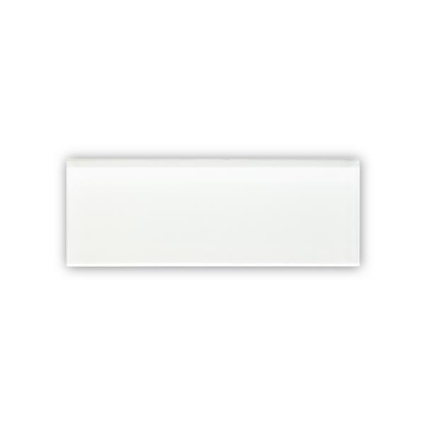 """Céramique murale en verre, 12"""" x 3"""", blanc, boîte de 24"""