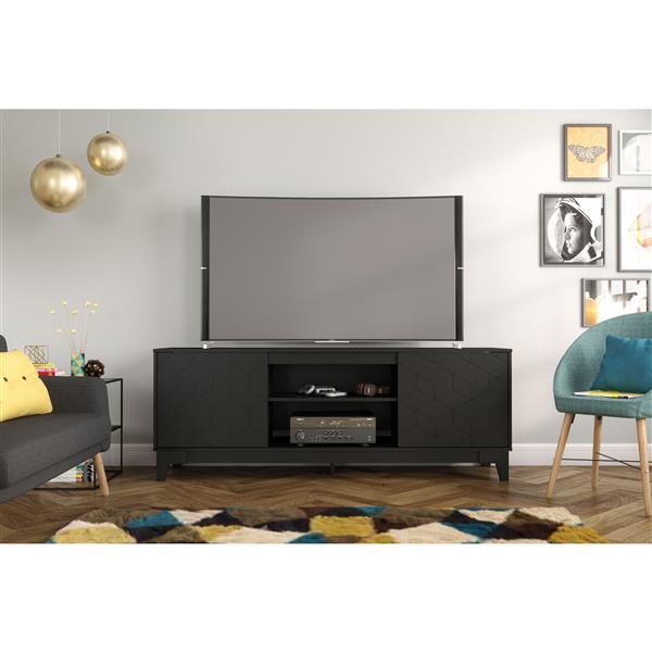 Nexera Hexagon TV Stand, 72-inch, Black