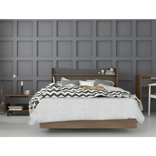 Nexera Neptune 3 Piece Full Size Bedroom Set, Walnut & Charcoal