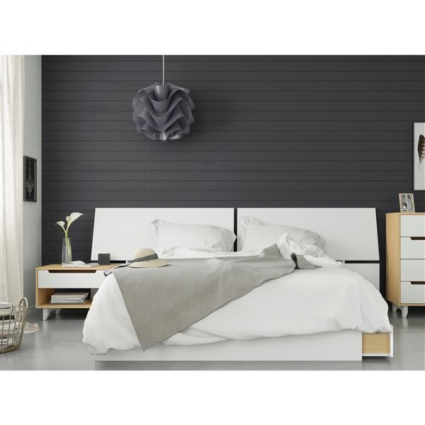 Nexera Scandi 3 Piece Queen Size Bedroom Set, Natural Maple & White