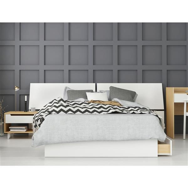 Nexera Scandi 3 Piece Full Size Bedroom Set, Natural Maple & White