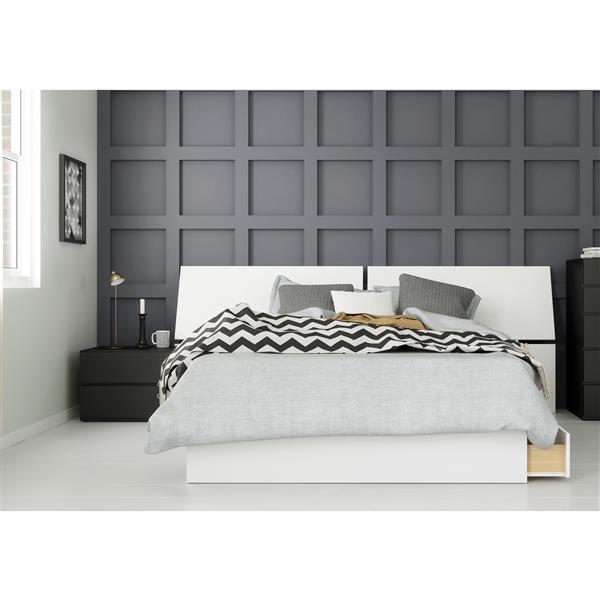 Nexera Context 3 Piece Full Size Bedroom Set, Black & White
