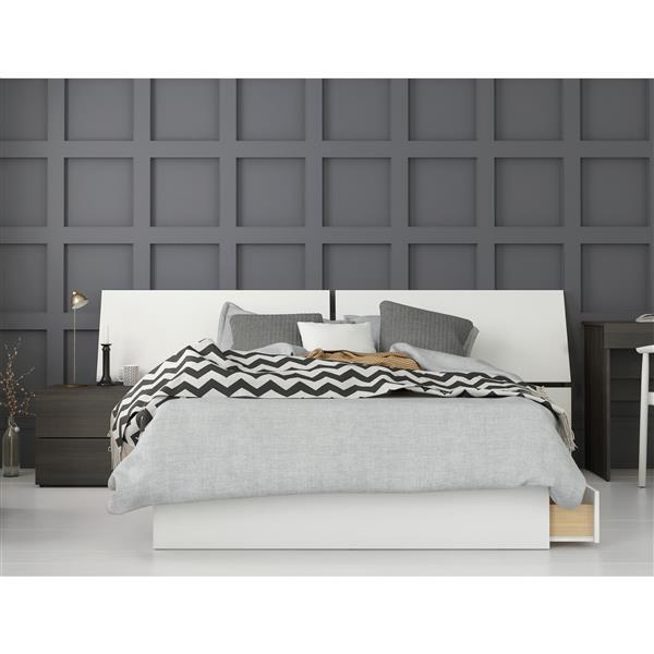 Nexera Nook 3 Piece Full Size Bedroom Set, Ebony & White