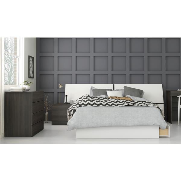 Nexera Nook 4 Piece Full Size Bedroom Set, Ebony & White
