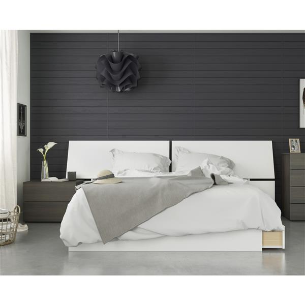 Nexera Nook 3 Piece Queen Size Bedroom Set, Ebony & White