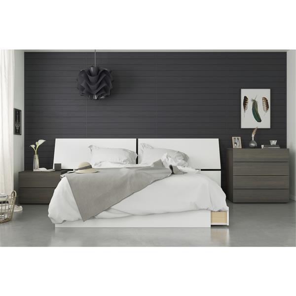 Nexera Nook 4 Piece Queen Size Bedroom Set, Ebony & White