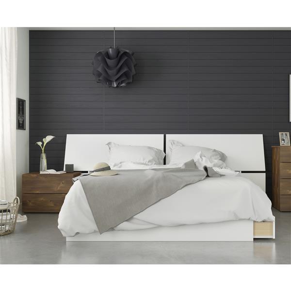Nexera Arcadia 3 Piece Queen Size Bedroom Set, Truffle & White