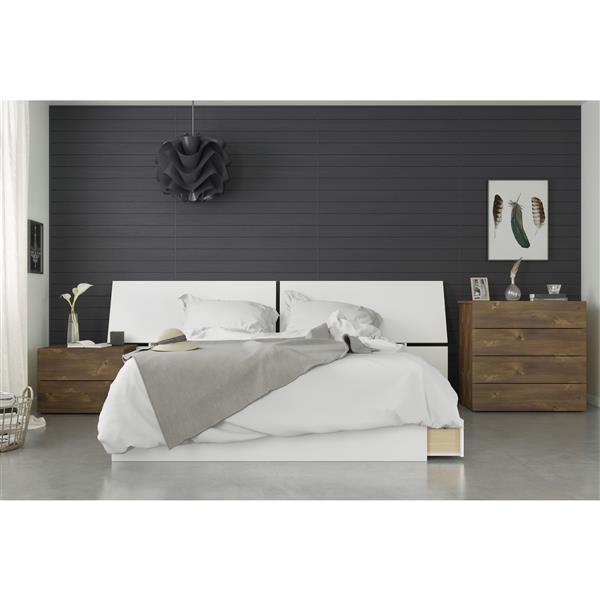 Nexera Arcadia 4 Piece Queen Size Bedroom Set, Truffle & White