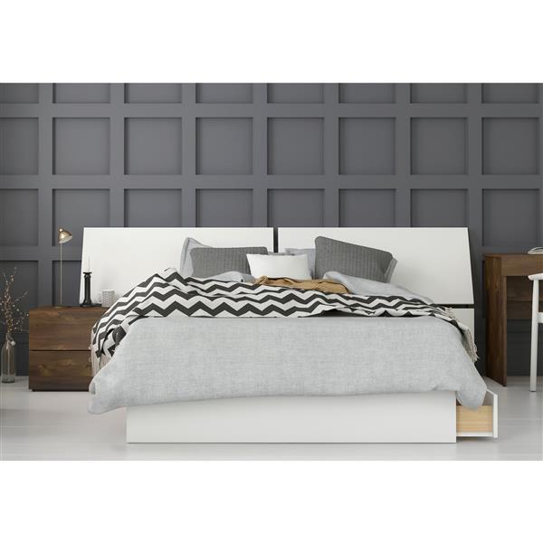 Nexera Arcadia 3 Piece Full Size Bedroom Set, Truffle & White