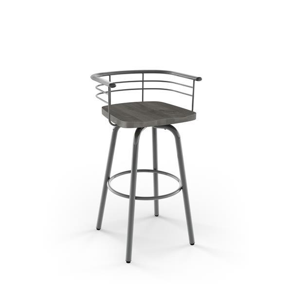 Tabouret de bar pivotant AMISCO Brisk, métal et bois gris, 25 po