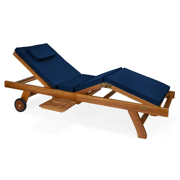 Chaise longue All Things Cedar en teck, Coussin bleu