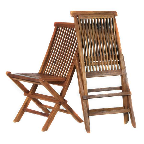 All Things Cedar Teak Folding Chair (2) - Blue Cushions