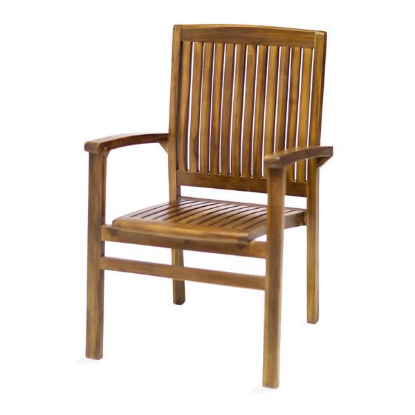 Table extensible et 6 chaises en teck, Coussin bleu