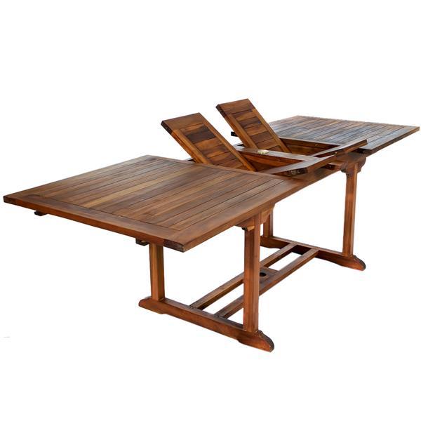 All Things Cedar 6 Teak Extension Folding Chair Set - 1 Table - Green Cushion