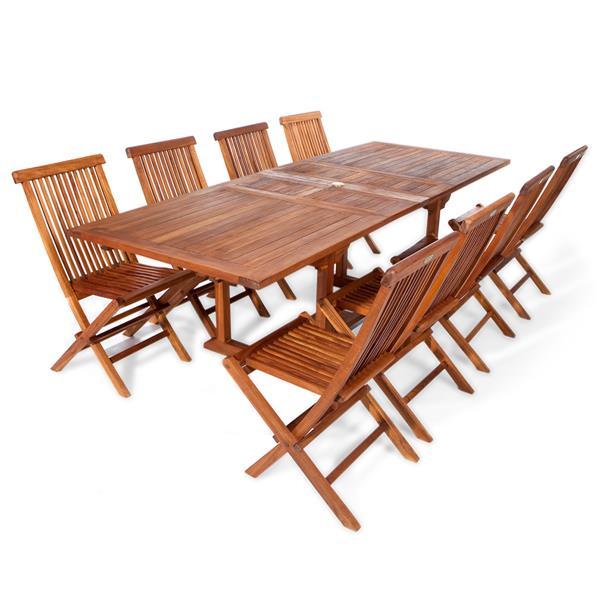 All Things Cedar 8 Teak Extension Folding Chair Set and 1 Table-White Cushion