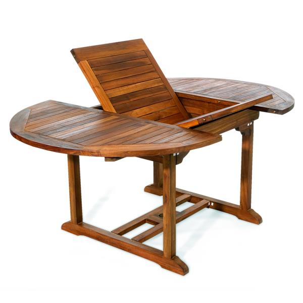 All Things Cedar Set of 6 chairs and an extendable teak table- Blue Cushion