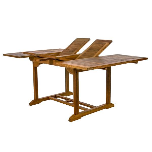 All Things Cedar 9-Pc Teak Folding Set - Green Cushion