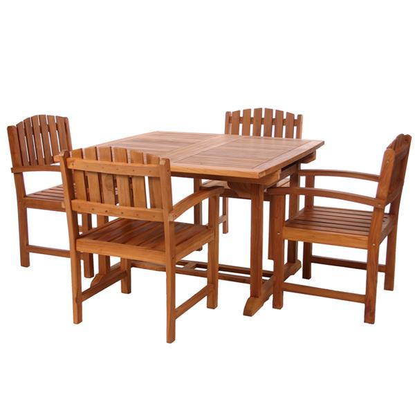 All Things Cedar 5-Pc Teak Dining Chair Set - Green Cushion