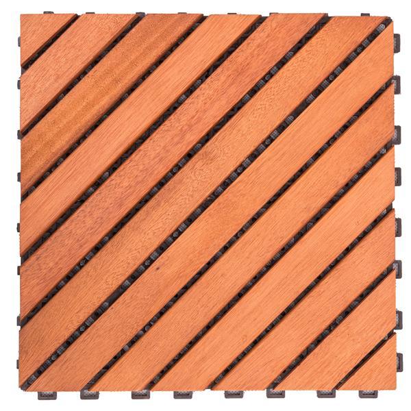 Vifah Patio 12-Diagonal Slat Deck Tile - 11.8-in - Wood - 10 pcs