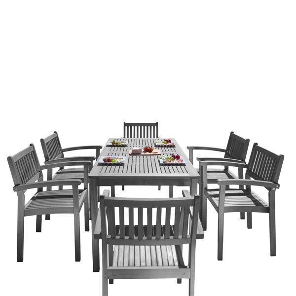 Vifah Renaissance Dining Set - Acacia - Gray - 7 pcs