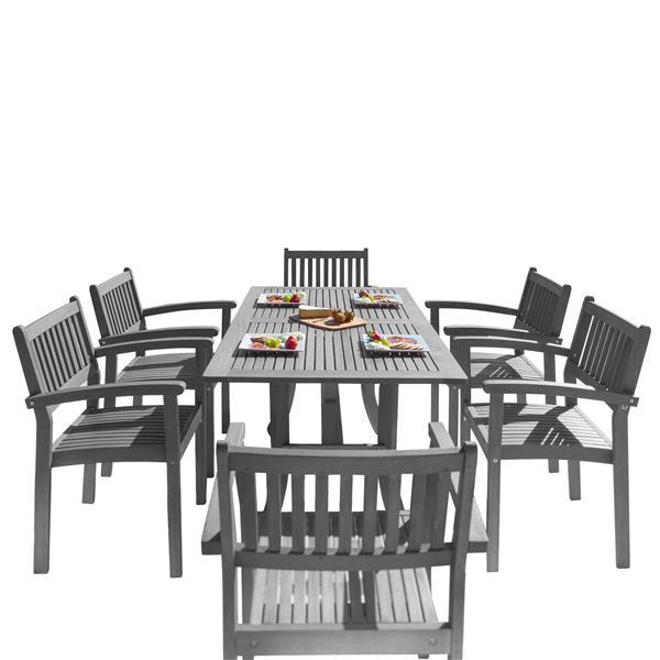Vifah Renaissance Dining Set - 59-in - Wood - Gray - 7 pcs