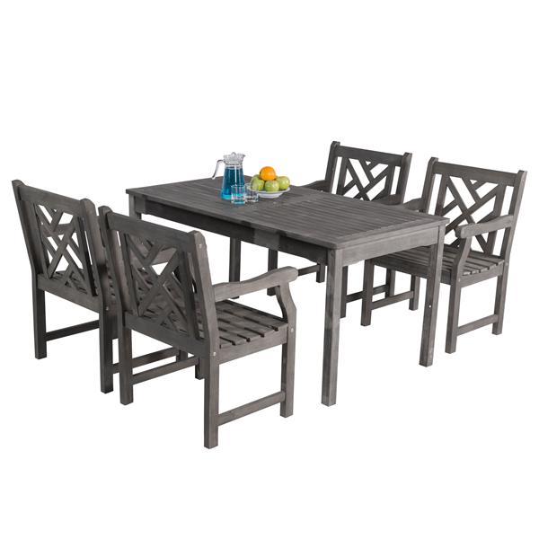 Vifah Renaissance Dining Set - 59-in - Acacia - Gray - 5 pcs