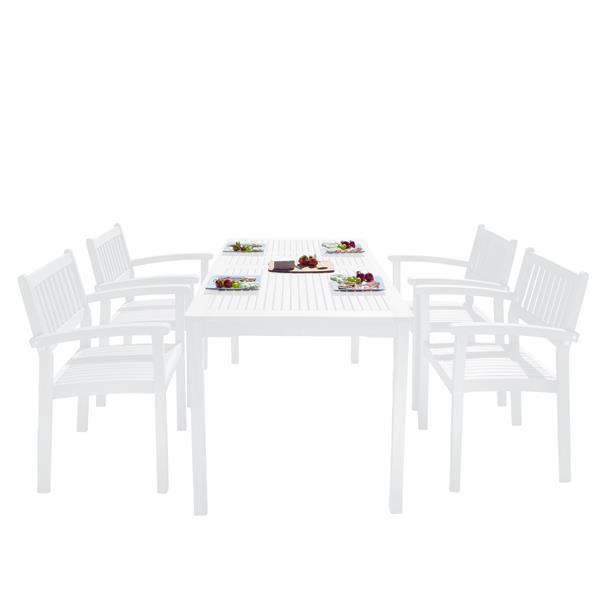 Vifah Bradley Dining Set - Wood - White - 5 pcs