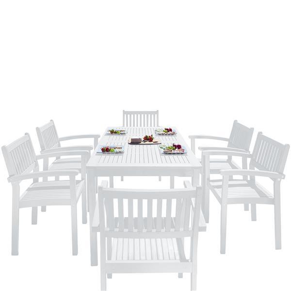 Vifah Bradley Dining Set - Wood - White - 7 pcs