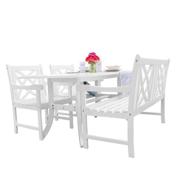 Vifah Bradley Dining Set - Wood - White - 4 pcs