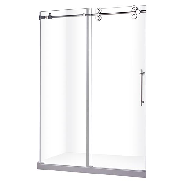 "Jade Bath Zirkon Frameless Sliding Shower Door  in Chrome 48"" x 79"""