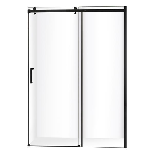 "Jade Bath Quartz Sliding Shower Door Matte Black Hardware 60""x78.75"""