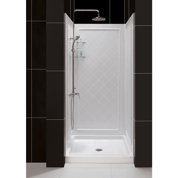 DreamLine QWALL-5 Shower Base Kit - 32-in - Acrylic - White