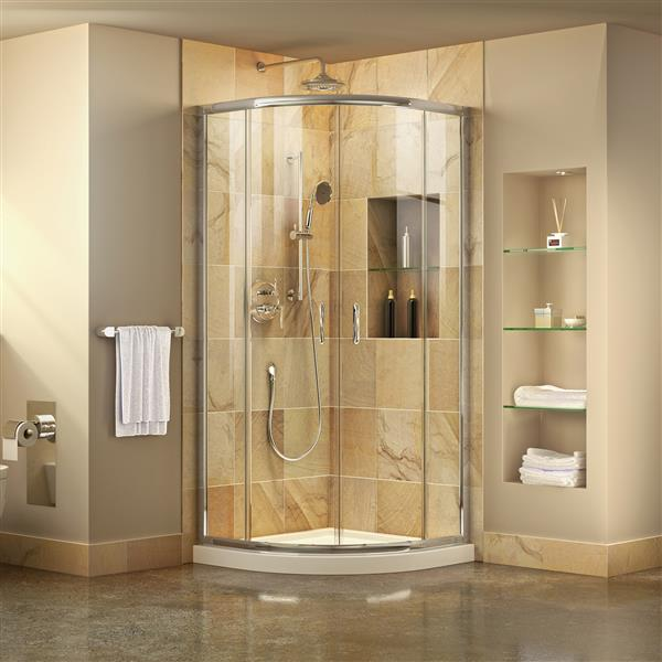 DreamLine Prime Shower Base Kit - 33-in - Acrylic - White