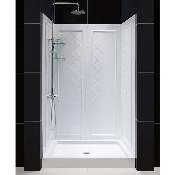 DreamLine QWALL-5 Shower Base Kit - 32-in - White
