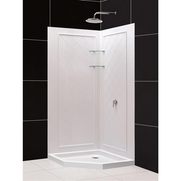 DreamLine QWALL-4 Shower Base Kit - 36-in - Acrylic - White