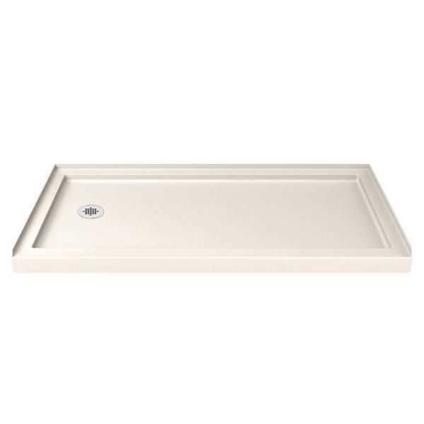 DreamLine SlimLine Shower Base - 60-in x 36-in - Acrylic - Biscuit