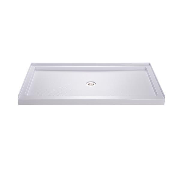 Base de douche SlimLine, 34 po x 60 po, acrylique, blanc