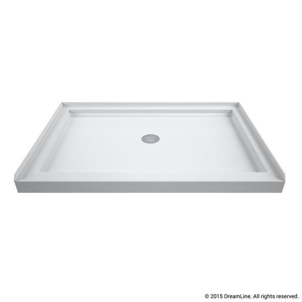 Base de douche SlimLine, 34 po x 48 po, acrylique, blanc